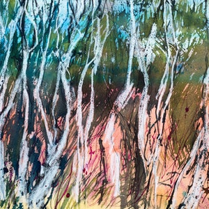 (CreativeWork) Saplings Kangaroo Island by Pamela Fairburn. mixed-media. Shop online at Bluethumb.