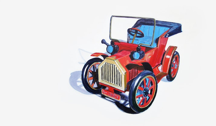 (CreativeWork) Tin Car  by Ross Morgan. Acrylic Paint. Shop online at Bluethumb.