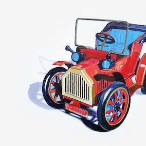 (CreativeWork) Tin Car  by Ross Morgan. arcylic-painting. Shop online at Bluethumb.