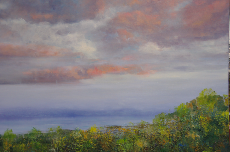 (CreativeWork) Autumn clouds over Sandy Bay.  by GEOFF WINCKLE. oil-painting. Shop online at Bluethumb.