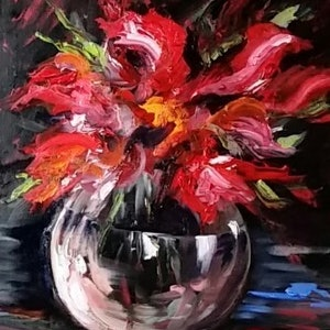 (CreativeWork) Glass Bowl of Red Flowers by Susan Capan. oil-painting. Shop online at Bluethumb.