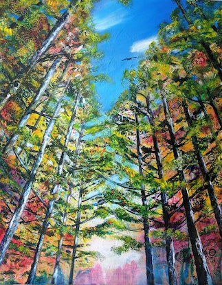 (CreativeWork) Look Up by Sue Dingle. Acrylic Paint. Shop online at Bluethumb.