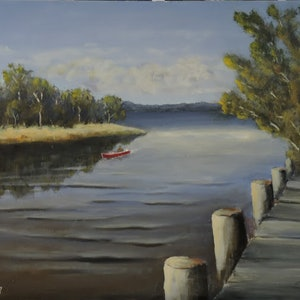 (CreativeWork) Mullet Creek Enters Lake Illawarra by Colin Hadfield. arcylic-painting. Shop online at Bluethumb.