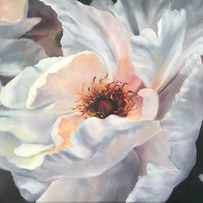 (CreativeWork) Peony Rose by Sarah Bary. Oil Paint. Shop online at Bluethumb.