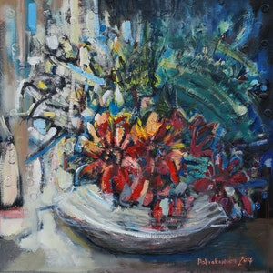 (CreativeWork) Gerberas by Anetta Dobrakowska. oil-painting. Shop online at Bluethumb.