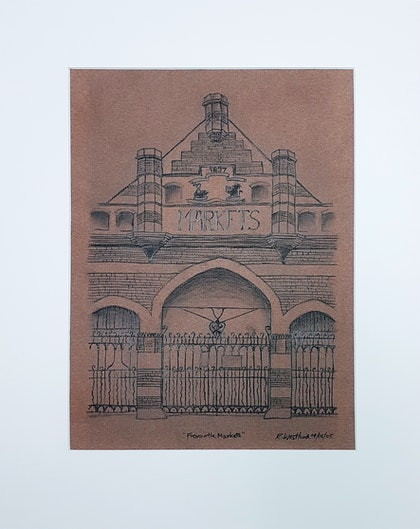 (CreativeWork) Fremantle Markets by Rebecca Westlund. drawing. Shop online at Bluethumb.