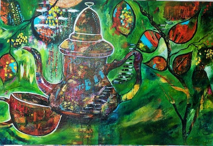 (CreativeWork) Journey - Travellers Rest by Sue Dingle. arcylic-painting. Shop online at Bluethumb.