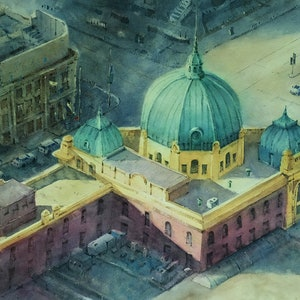 (CreativeWork) Top View Flinders Station. by Natthapol Chaiyatam. watercolour. Shop online at Bluethumb.
