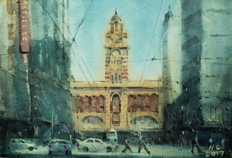 (CreativeWork)  Flinders Station. by Natthapol Chaiyatam. watercolour. Shop online at Bluethumb.