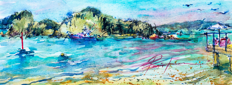 (CreativeWork) Bay of Islands, New Zealand by Pamela Fairburn. watercolour. Shop online at Bluethumb.
