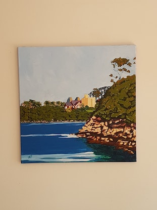 (CreativeWork) The Harbor Bridge as seen from Whiting beach by David Foster. Acrylic Paint. Shop online at Bluethumb.