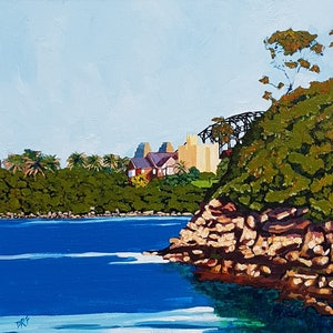 (CreativeWork) The Harbor Bridge as seen from Whiting beach by David Foster. arcylic-painting. Shop online at Bluethumb.