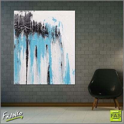 (CreativeWork) Bright Blue 120cm x 100cm  Acrylics texture gloss FRANKO by _Franko _. Acrylic Paint. Shop online at Bluethumb.