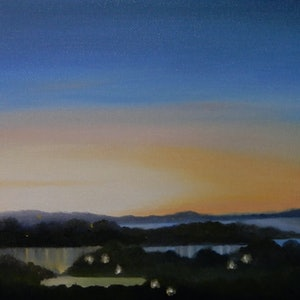 (CreativeWork) Twilight Haze by Doodie Herman. oil-painting. Shop online at Bluethumb.