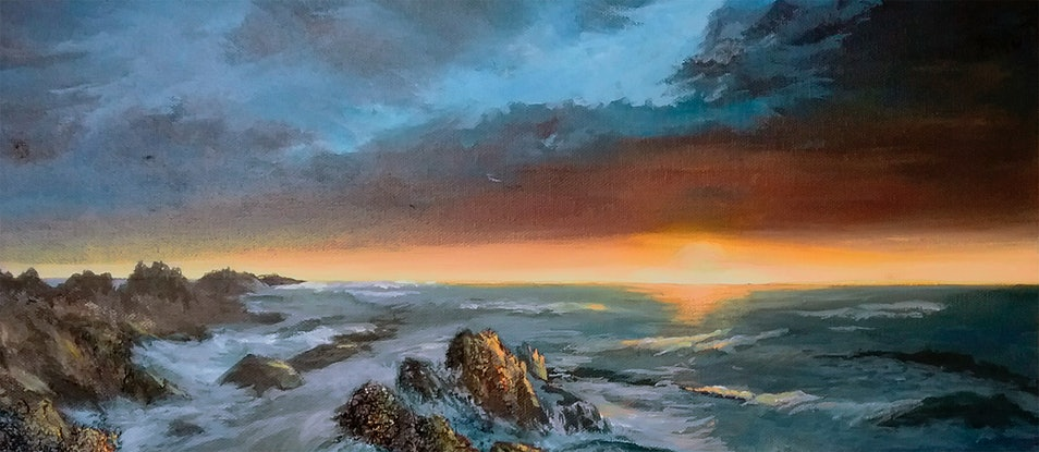 (CreativeWork) The Edge of the World by Pauline Johnson. Acrylic Paint. Shop online at Bluethumb.