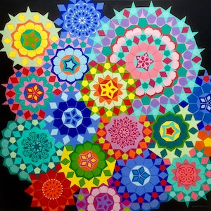 (CreativeWork) Millefiori Series: Magic by Olena Bloomfield. arcylic-painting. Shop online at Bluethumb.