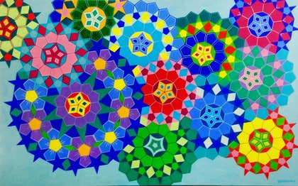 (CreativeWork) Millefiori Series: Forget Me Not by Olena Bloomfield. arcylic-painting. Shop online at Bluethumb.