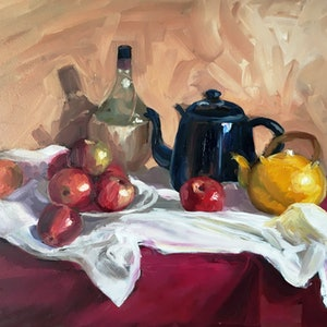 (CreativeWork) Still Life with Apples by Rosa Fedele. oil-painting. Shop online at Bluethumb.