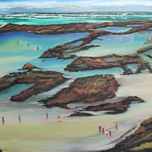 (CreativeWork) FRASER ISLAND - CHAMPAGNE POOLS by Ralph Coles. oil-painting. Shop online at Bluethumb.
