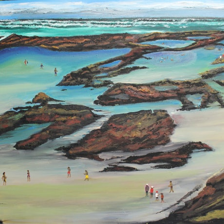(CreativeWork) FRASER ISLAND - CHAMPAGNE POOLS by Ralph Coles. Oil Paint. Shop online at Bluethumb.