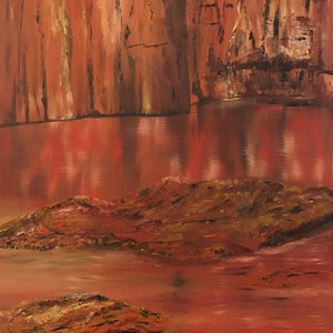 (CreativeWork) Kimberley Gorge 50x102cm by Di Parsons. oil-painting. Shop online at Bluethumb.
