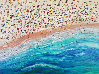 (CreativeWork) Beach Day by Donna Gibb. oil-painting. Shop online at Bluethumb.