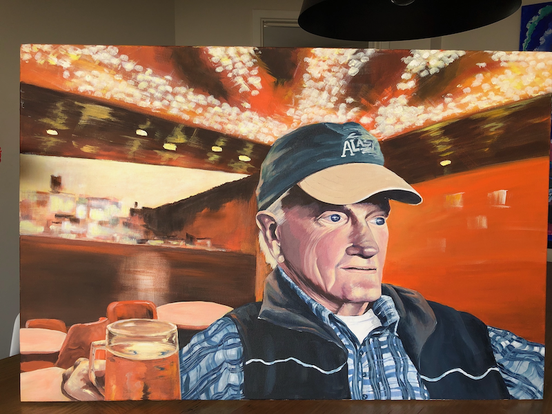 (CreativeWork) John in Alaska by Annabelle Brockman. arcylic-painting. Shop online at Bluethumb.