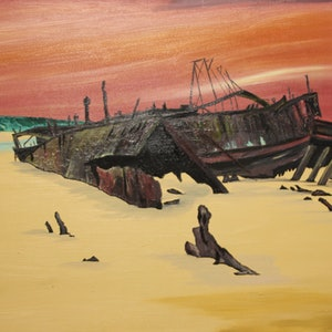 (CreativeWork) FRASER ISLAND -WRECK OF THE MAHENO by Ralph Coles. oil-painting. Shop online at Bluethumb.