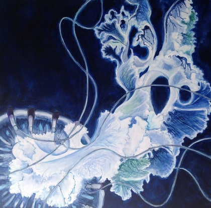 (CreativeWork) Deep Blue by Anne Fontaine. Acrylic Paint. Shop online at Bluethumb.