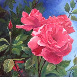 (CreativeWork) Red Roses by Sally Mitchell. oil-painting. Shop online at Bluethumb.