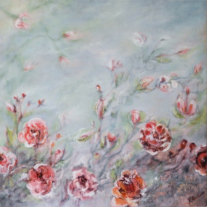 (CreativeWork) Rambling Rose by Raewyn Carboni. oil-painting. Shop online at Bluethumb.