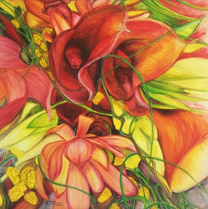 (CreativeWork) Bouquet of Flowers by Jess King. watercolour. Shop online at Bluethumb.