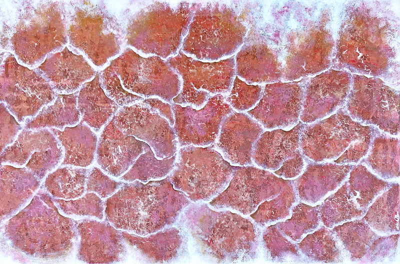 (CreativeWork) Pink Salt Formations at Hillier Lake WA by Andrea Marriette. arcylic-painting. Shop online at Bluethumb.