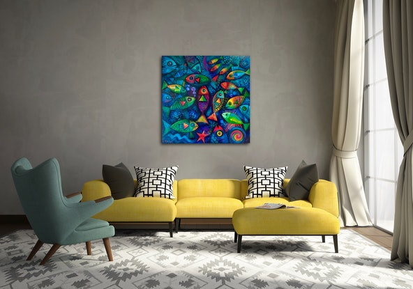 (CreativeWork) Plenty of Fish in the Sea by Karin Zeller. Acrylic Paint. Shop online at Bluethumb.