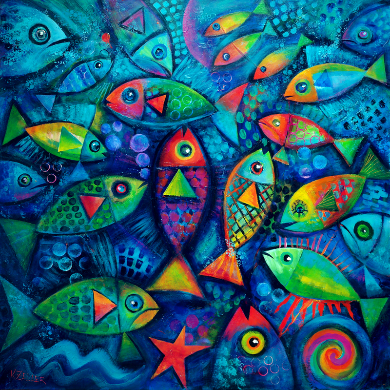 (CreativeWork) Plenty of Fish in the Sea by Karin Zeller. arcylic-painting. Shop online at Bluethumb.