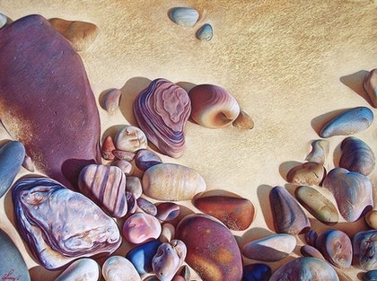 "(CreativeWork) ""Palette of Stones - Hallet Cove beach  SA"" Ed. 2 of 25 by Elena Kolotusha. print. Shop online at Bluethumb."