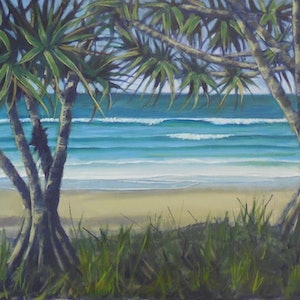 (CreativeWork) Through the pandanus by Anne Strambi. oil-painting. Shop online at Bluethumb.