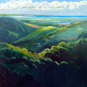 (CreativeWork) View to Stradbroke Island from the rooftop of St.Bernard's Hotel Tamborine Mountain by Virginia McGowan. oil-painting. Shop online at Bluethumb.