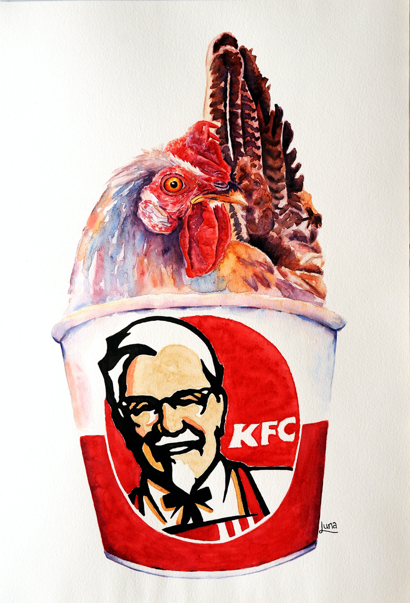 (CreativeWork) Kentucky FRIED What!!? by Luna Vermeulen. Watercolour Paint. Shop online at Bluethumb.