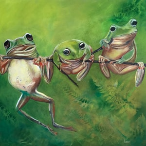 (CreativeWork) Tom, Dick And Harry by Barbara Hardy. oil-painting. Shop online at Bluethumb.