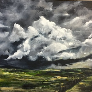 (CreativeWork) Storm Clouds by Jodi Bowen. acrylic-painting. Shop online at Bluethumb.