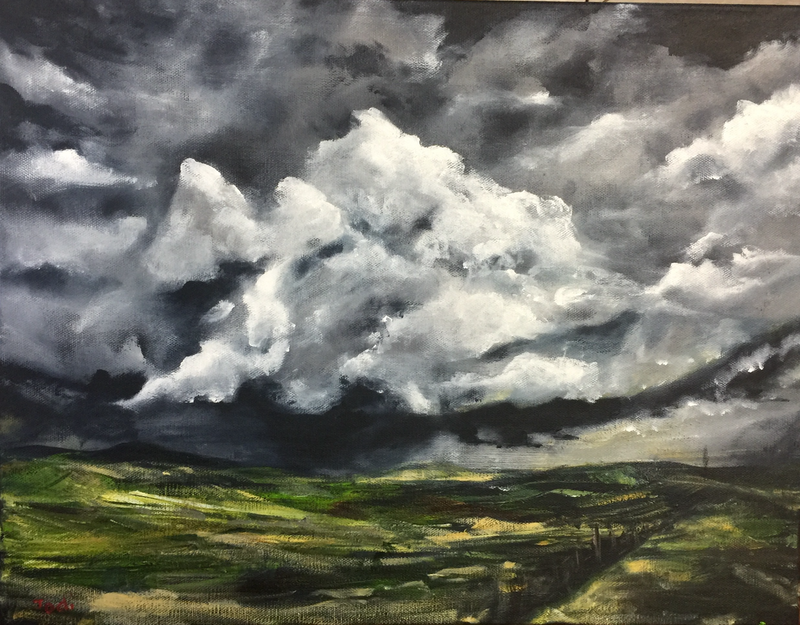 (CreativeWork) Storm Clouds by Jodi Bowen. arcylic-painting. Shop online at Bluethumb.