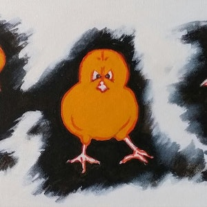 (CreativeWork) Chickens B by Maria Kapodistrias. arcylic-painting. Shop online at Bluethumb.
