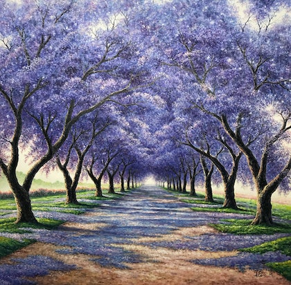 (CreativeWork) Jacaranda flowers by Alex Mo. oil-painting. Shop online at Bluethumb.