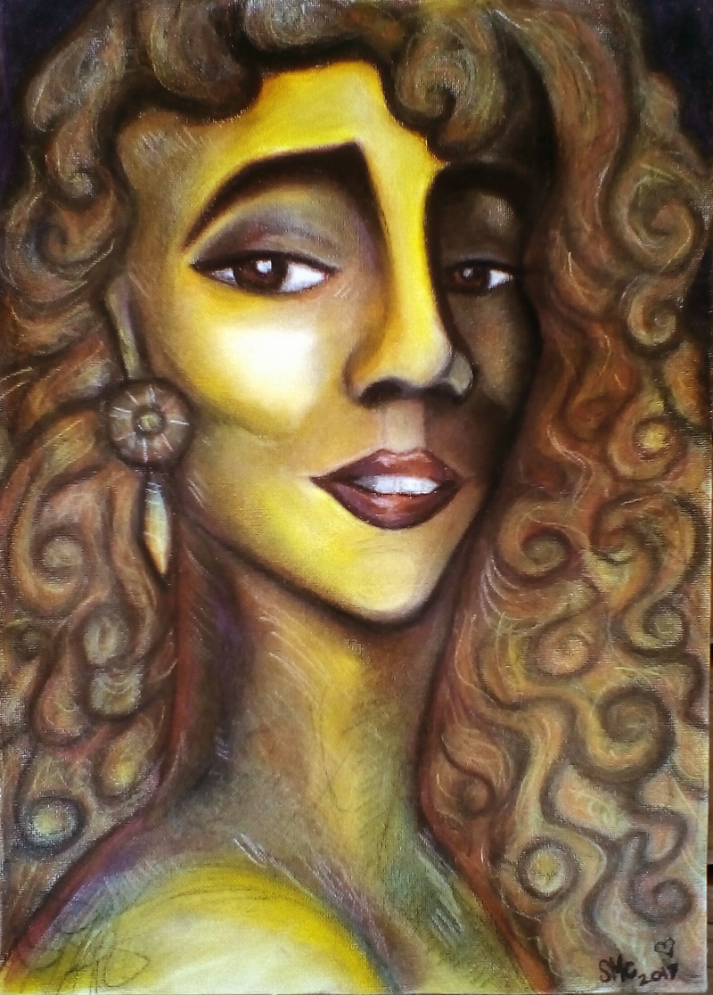 (CreativeWork) Golden glimmer by Sarah Crane. drawing. Shop online at Bluethumb.
