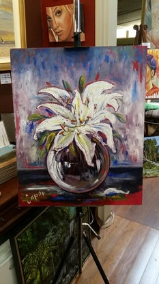 (CreativeWork) Glass Lilly Bowl by Susan Capan. Oil Paint. Shop online at Bluethumb.