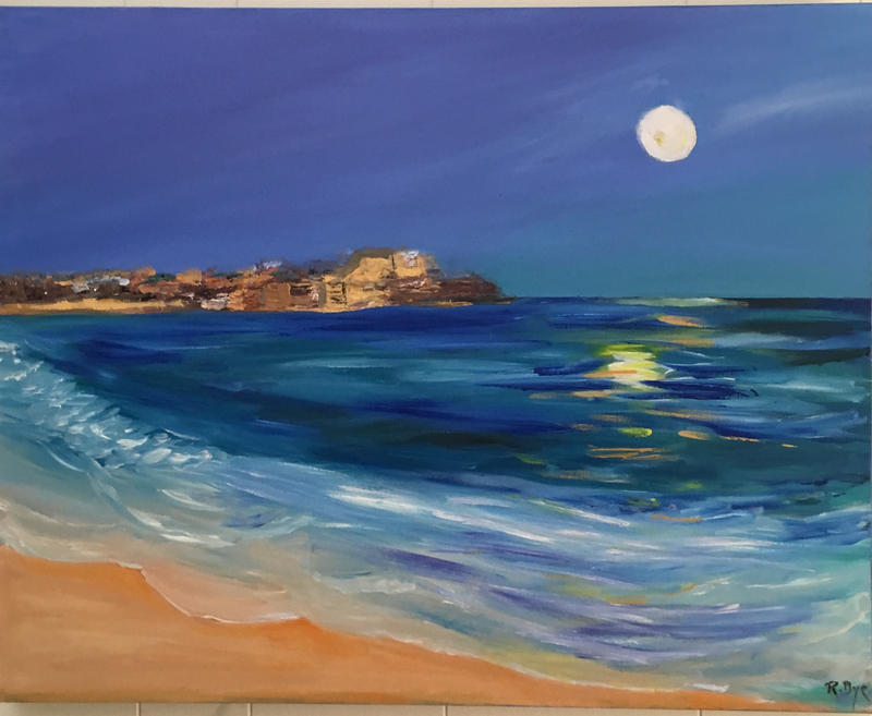 (CreativeWork) Bondi in moonlight .  by Ruth Bye. oil-painting. Shop online at Bluethumb.