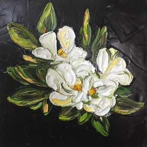 (CreativeWork) Magnolia Desire by Renia Lakomy. oil-painting. Shop online at Bluethumb.
