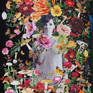 (CreativeWork) 'Olympia (after Manet) #1 by Karen Coull. mixed-media. Shop online at Bluethumb.
