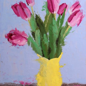 (CreativeWork) Pink Tulips by Mirjana Psakis. oil-painting. Shop online at Bluethumb.
